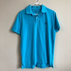 American Eagle Outfitters Blue Short Sleeve Polo
